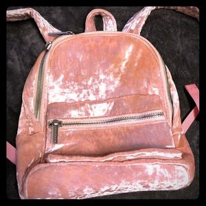 Handbags - Pink crushed velvet backpack.